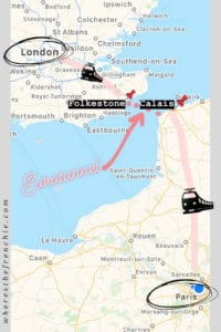 Map-paris-calais-london-dog - Where's The Frenchie? on